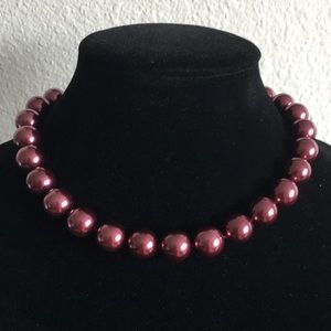 Charter Club Plum Faux Pearl Necklace (V80)
